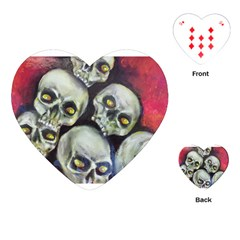Halloween Skulls No 1 Playing Cards (heart)  by timelessartoncanvas