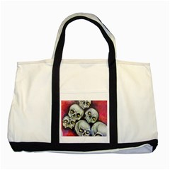 Halloween Skulls No 1 Two Tone Tote Bag  by timelessartoncanvas