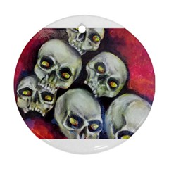 Halloween Skulls No 1 Round Ornament (two Sides)  by timelessartoncanvas