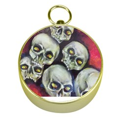 Halloween Skulls No 1 Gold Compasses by timelessartoncanvas