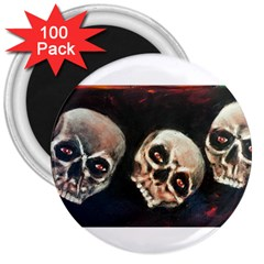 Halloween Skulls No. 2 3  Magnets (100 pack) by timelessartoncanvas