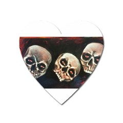 Halloween Skulls No  2 Heart Magnet by timelessartoncanvas