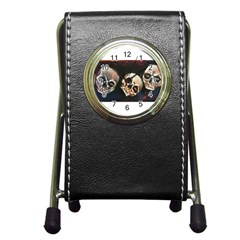 Halloween Skulls No  2 Pen Holder Desk Clocks by timelessartoncanvas