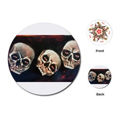 Halloween Skulls No  2 Playing Cards (round)  by timelessartoncanvas