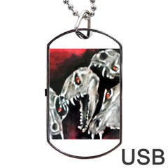 Halloween Skulls No  3 Dog Tag Usb Flash (two Sides)