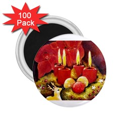Holiday Candles  2 25  Magnets (100 Pack)  by timelessartoncanvas