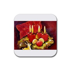 Holiday Candles  Rubber Square Coaster (4 pack)  by timelessartoncanvas