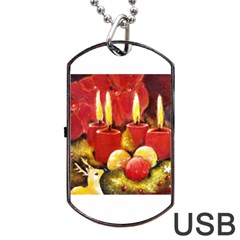 Holiday Candles  Dog Tag Usb Flash (one Side) by timelessartoncanvas