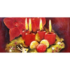 Holiday Candles  You Are Invited 3d Greeting Card (8x4)