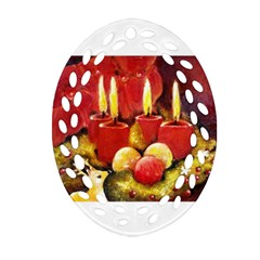 Holiday Candles  Oval Filigree Ornament (2 Side)  by timelessartoncanvas