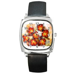 Fall Flowers Square Metal Watches by timelessartoncanvas