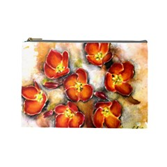 Fall Flowers Cosmetic Bag (large)  by timelessartoncanvas