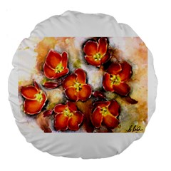 Fall Flowers Large 18  Premium Flano Round Cushions by timelessartoncanvas