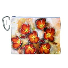 Fall Flowers Canvas Cosmetic Bag (l) by timelessartoncanvas