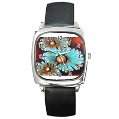 Fall Flowers No  2 Square Metal Watches by timelessartoncanvas