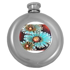 Fall Flowers No  2 Round Hip Flask (5 Oz) by timelessartoncanvas