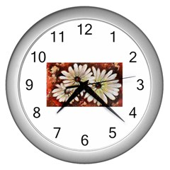 Fall Flowers No  3 Wall Clocks (silver)  by timelessartoncanvas