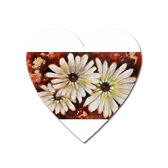 Fall Flowers No  3 Heart Magnet by timelessartoncanvas