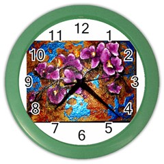 Fall Flowers No  5 Color Wall Clocks by timelessartoncanvas