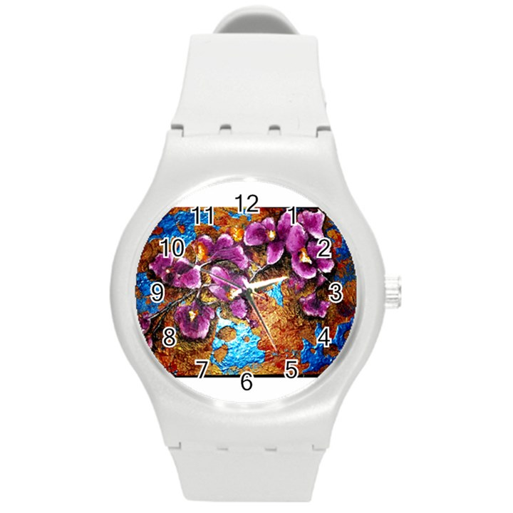 Fall Flowers No. 5 Round Plastic Sport Watch (M)