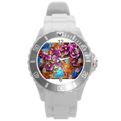 Fall Flowers No  5 Round Plastic Sport Watch (l) by timelessartoncanvas