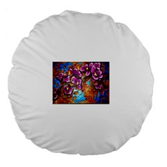 Fall Flowers No  5 Large 18  Premium Flano Round Cushions by timelessartoncanvas