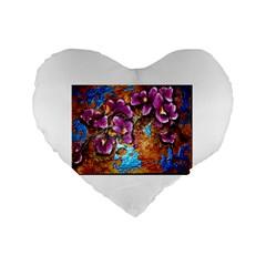 Fall Flowers No  5 Standard 16  Premium Flano Heart Shape Cushions by timelessartoncanvas