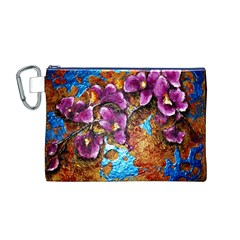 Fall Flowers No  5 Canvas Cosmetic Bag (m) by timelessartoncanvas