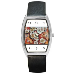 Fall Flowers No  6 Barrel Metal Watches by timelessartoncanvas