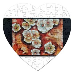 Fall Flowers No  6 Jigsaw Puzzle (heart) by timelessartoncanvas