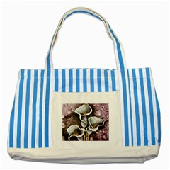 Gala Lilies Striped Blue Tote Bag  by timelessartoncanvas