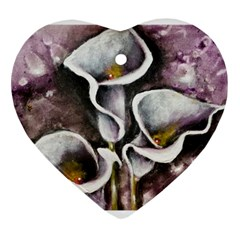 Gala Lilies Heart Ornament (2 Sides) by timelessartoncanvas