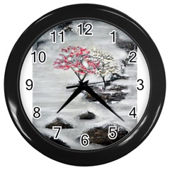 Mountains, Trees And Fog Wall Clocks (black) by timelessartoncanvas