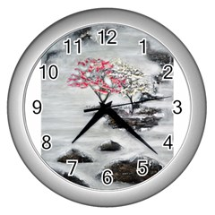 Mountains, Trees And Fog Wall Clocks (silver)  by timelessartoncanvas