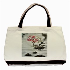 Mountains, Trees And Fog Basic Tote Bag  by timelessartoncanvas