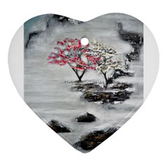 Mountains, Trees And Fog Heart Ornament (2 Sides) by timelessartoncanvas