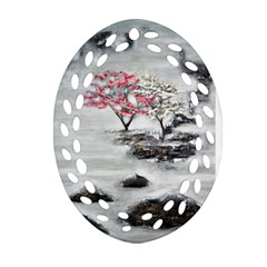 Mountains, Trees And Fog Oval Filigree Ornament (2 Side)
