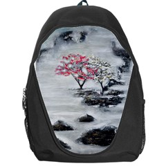 Mountains, Trees And Fog Backpack Bag by timelessartoncanvas