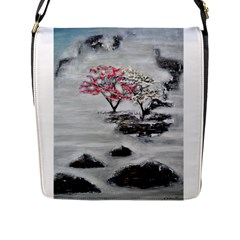 Mountains, Trees And Fog Flap Messenger Bag (l)  by timelessartoncanvas