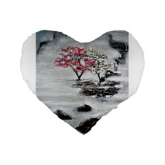 Mountains, Trees And Fog Standard 16  Premium Flano Heart Shape Cushions by timelessartoncanvas