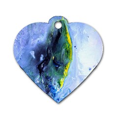 Bright Yellow And Blue Abstract Dog Tag Heart (one Side) by timelessartoncanvas