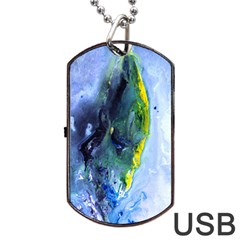 Bright Yellow And Blue Abstract Dog Tag Usb Flash (one Side) by timelessartoncanvas