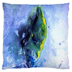 Bright Yellow and Blue Abstract Standard Flano Cushion Cases (One Side)  by timelessartoncanvas