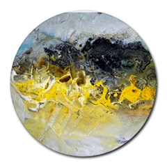 Bright Yellow Abstract Round Mousepads by timelessartoncanvas