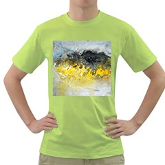 Bright Yellow Abstract Green T Shirt by timelessartoncanvas