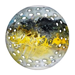 Bright Yellow Abstract Ornament (round Filigree)  by timelessartoncanvas