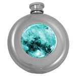 Turquoise Abstract Round Hip Flask (5 oz) Front