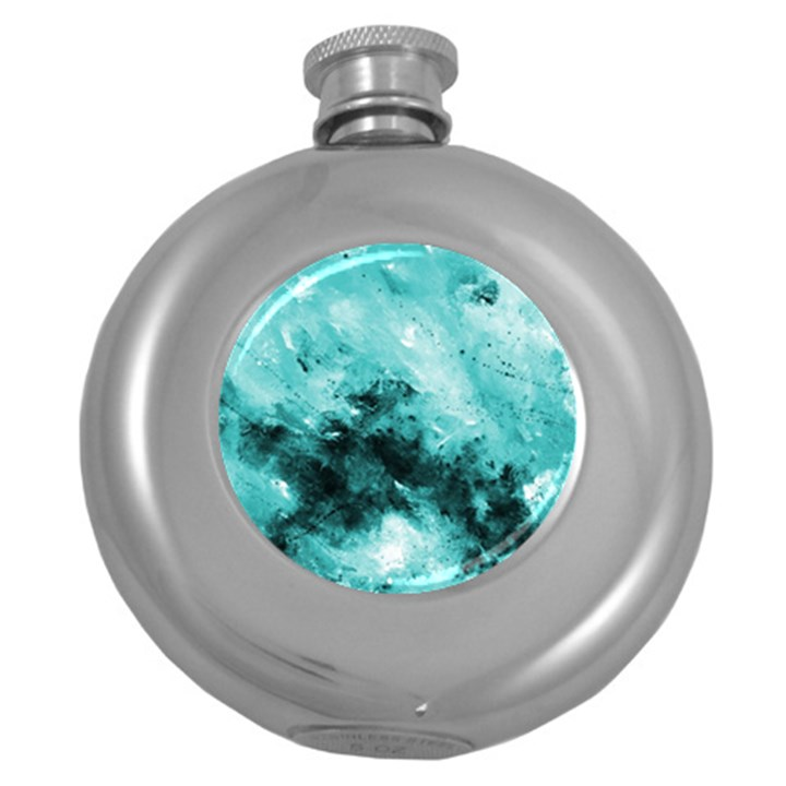 Turquoise Abstract Round Hip Flask (5 oz)
