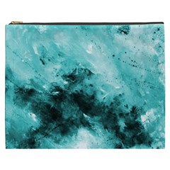 Turquoise Abstract Cosmetic Bag (XXXL)  by timelessartoncanvas