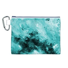 Turquoise Abstract Canvas Cosmetic Bag (l) by timelessartoncanvas